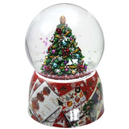 Snow globe fir-tree red