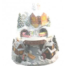 Snowglobe with illumination and turning train