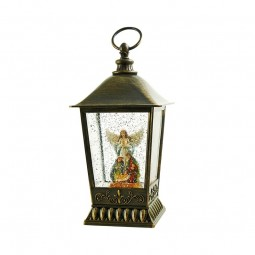 Glitter lantern with angel and nativity scene