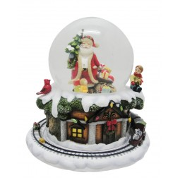 Santa snow globe with tree & gifts