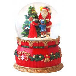 Snow globe Santa with children in the woods